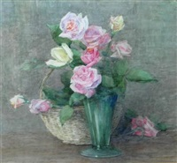 a still life of pink roses by constance walton