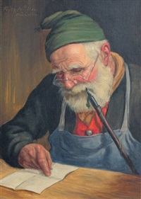 bearded man reading and smoking a pipe by fritz müller