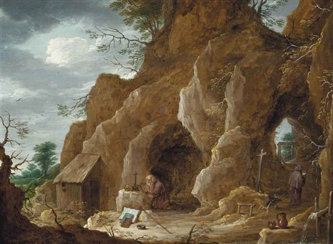 a rocky landscape with saint jerome praying by david teniers the younger