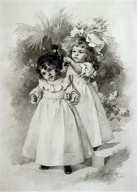 young girl braiding another's hair by maud humphrey