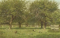 chickens in an orchard by willem de famars testas