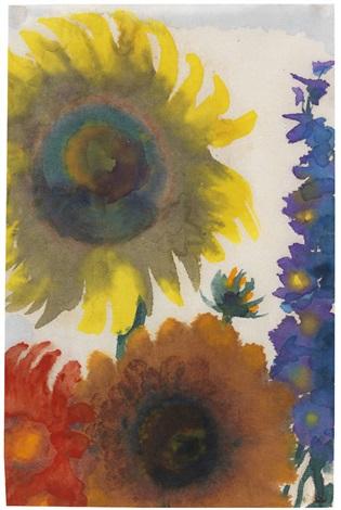 sonnenblumen und rittersporn by emil nolde