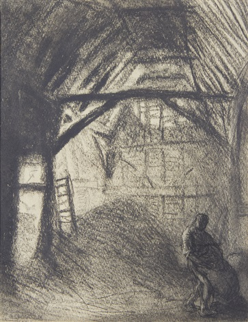 thresher in a barn by sir george clausen
