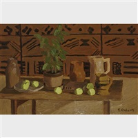 untitled - still life with green pears by william goodridge roberts