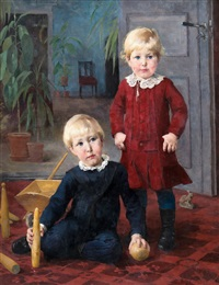 a portrait of two children by helene sofia schjerfbeck