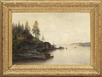 kustlandskap med figurer och stugor by harald (sten h.) torsslow