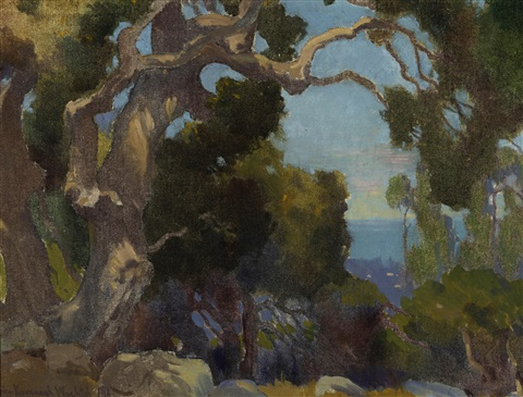 old eucalyptus and mountain lake recto verso by marion kavanaugh wachtel