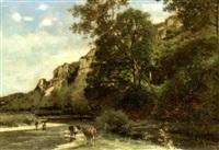bord de rivière animé de personnages et de bétail by joseph quinaux