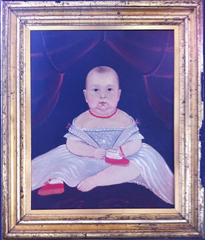 portrait of a baby with red booties by william matthew prior