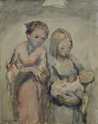 two women and baby by anne wilson goldthwaite
