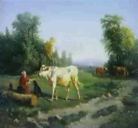 vaches gardees par la fermiere by paul jean pierre gélibert