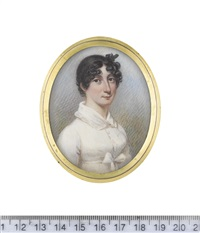 a lady, wearing white buttoned dress with falling collar edged with lace, a white sash tied beneath her bust in a bow, her dark hair upswept and curled in ringlets framing her face by nathaniel freese