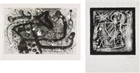 les géants iii; and les essències de la terra: one plate (2 works) by joan miró