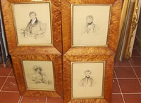 four portraits, of members of the lumley-smith family by stephen catterson smith