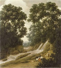 a forest with natives carrying baskets on a path by a waterfall by frans jansz post