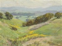 landscape (wildflowers on rolling hills) by benjamin chambers brown