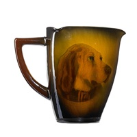 standard portrait three-cornered pitcher with golden labrador by edward timothy hurley