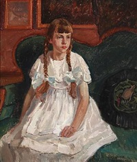 a girl sitting in a sofa by niels holbak