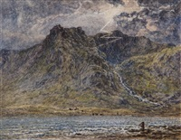 loch idwal; llancharne castle, south wales (pair) by thomas danby