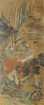 歌舞颂圣图 镜框 设色绢本 by wen zhengming