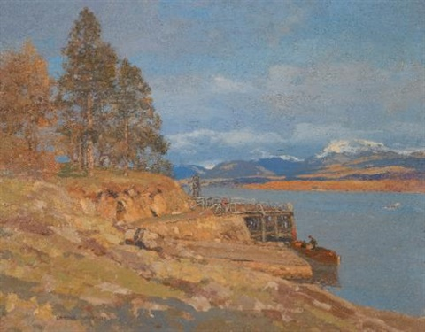 the calm of autumn argyll on the banks of the loch pair by george houston