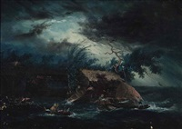 a storm at sea by antonio fontanesi