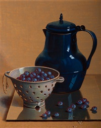 still life with blue coffee pot and blueberries in a colander by henri bol