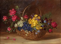 gebirgsblumen im korb by maria kistler