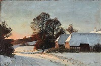sunset on a winter day in the countryside by hans mortensen agersnap