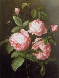 a sprig of roses by ange louis guillaume lesourd-beauregard