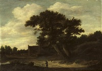 a wooded landscape with a traveller and his dog on a track, a village with peasants beyond by salomon rombouts