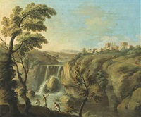 an extensive landscape with fishermen before a waterfall, a town beyond by paolo anesi