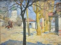 temir-khan-choura (cavalier sur la place du village) by evgeni evgen'evich lansere