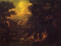 paysage aux baigneurs by giovanni (giambattista) peruzzini