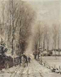 a horse-drawn cart on a snowy path by louis apol