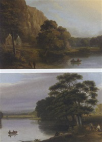 a river landscape with bathers and a rowing boat by joseph rhodes