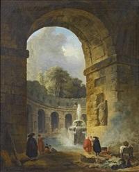 fantaisie de ruines romaines avec arcades et fontaine animée de personnages by hubert robert