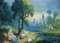 paisaje con pastora y caballeros e             indicando el buen camino al caballero by joseph bartsch