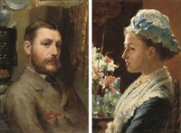 portrait of a gentleman (+ another; pair) by samuel melton fisher