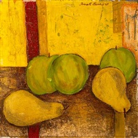still life with green apples and pears by forrest clemenger bess