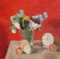 flowers and clock by adrian maurice daintrey