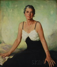 portrait of a seated woman in a black and white gown by harold matthews brett