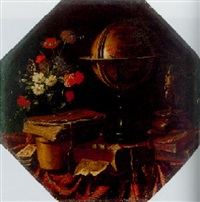 a vanitas still life with flowers in a glass vase resting on a book, globe, candlestick, other books on a draped ledge by master of the vanitas texts
