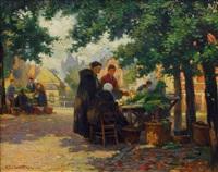 market scene in bruges by florimond (flori-marie) van acker