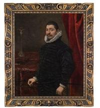 bildnis eines vornehmen herrn, in schwarzem habit mit halskrause, vor einem kreuz stehend by domenico tintoretto