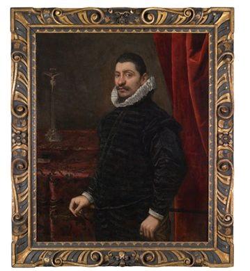bildnis eines vornehmen herrn in schwarzem habit mit halskrause vor einem kreuz stehend by domenico tintoretto