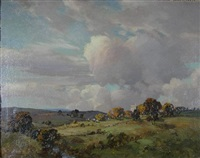 landscape with a castle and cattle grazing by tom campbell