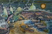 fantasy harbor scene with boats by dorian spencer davies