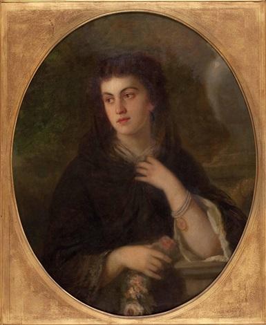 portrait einer jungen dame mit rosen by heinrich von angeli