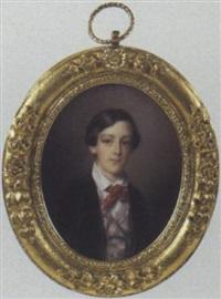 portrait d'un jeune garçon en redingote grise, gilet écossais et cravate rouge by paul gomien